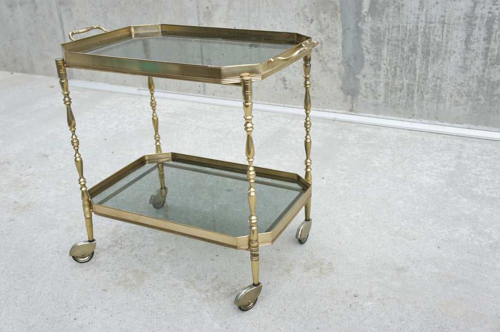 Mid Century Glass and Metal Drinks Trolley