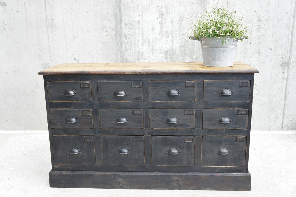 Black Factory Sideboard (12) Drawer Unit