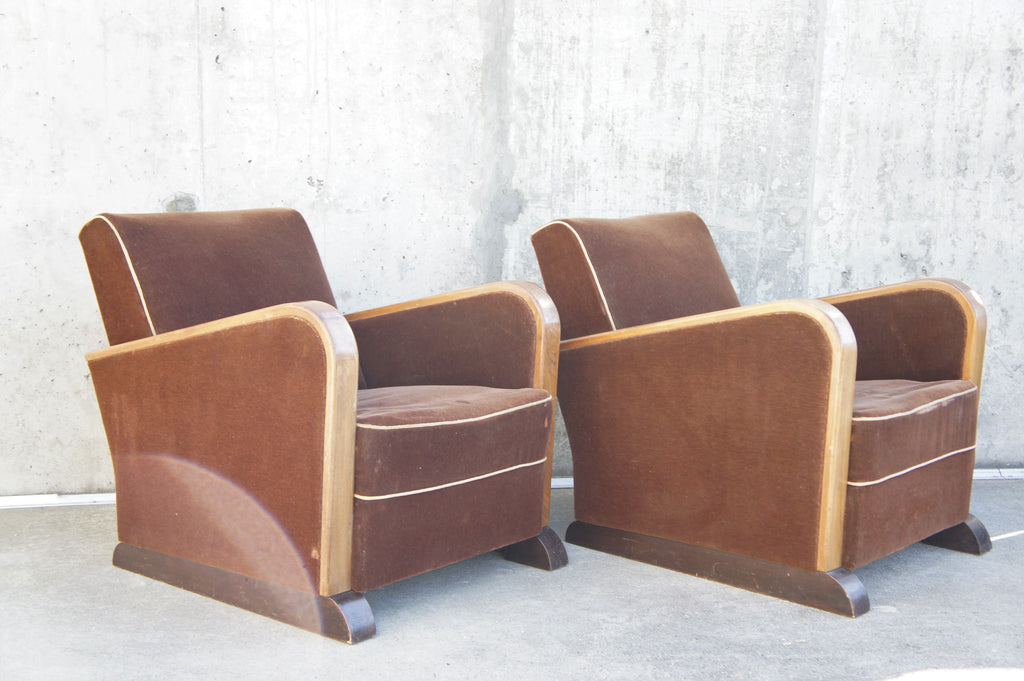 Pair of Mohair Velvet Art Deco Lounge Chairs