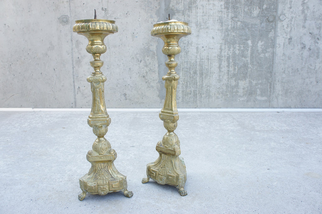 Pair Rare Church Candle Sticks