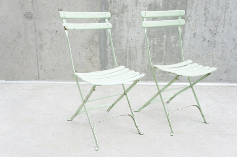 Pair Pistachio Folding Garden Chairs