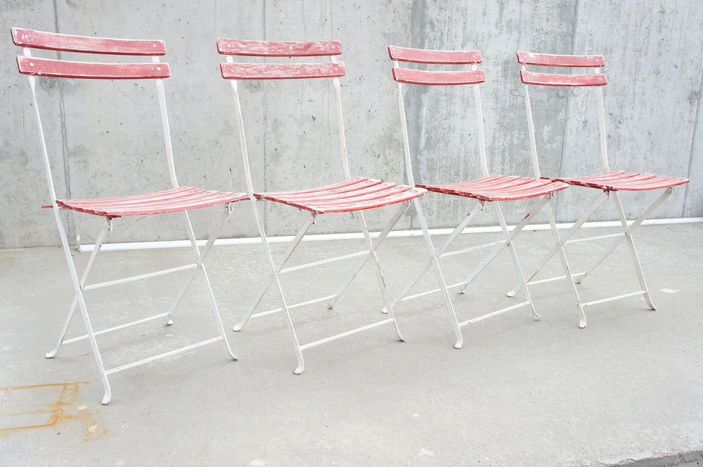 Set of 4 Red Folding Bistro Chairs