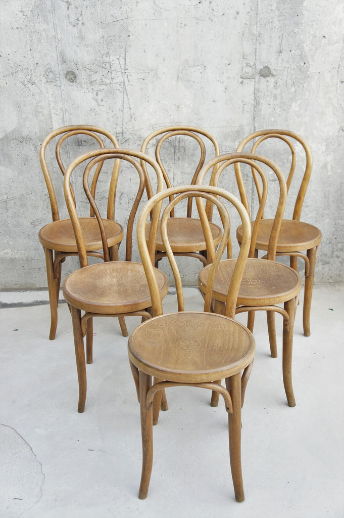 6 Thonet Style Bentwood Bistro Chairs