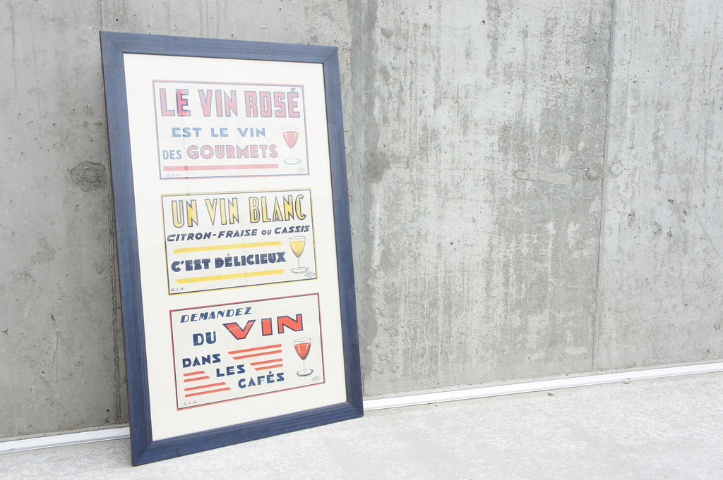 Framed Triptych 1930's 'Vin' Promotional Posters