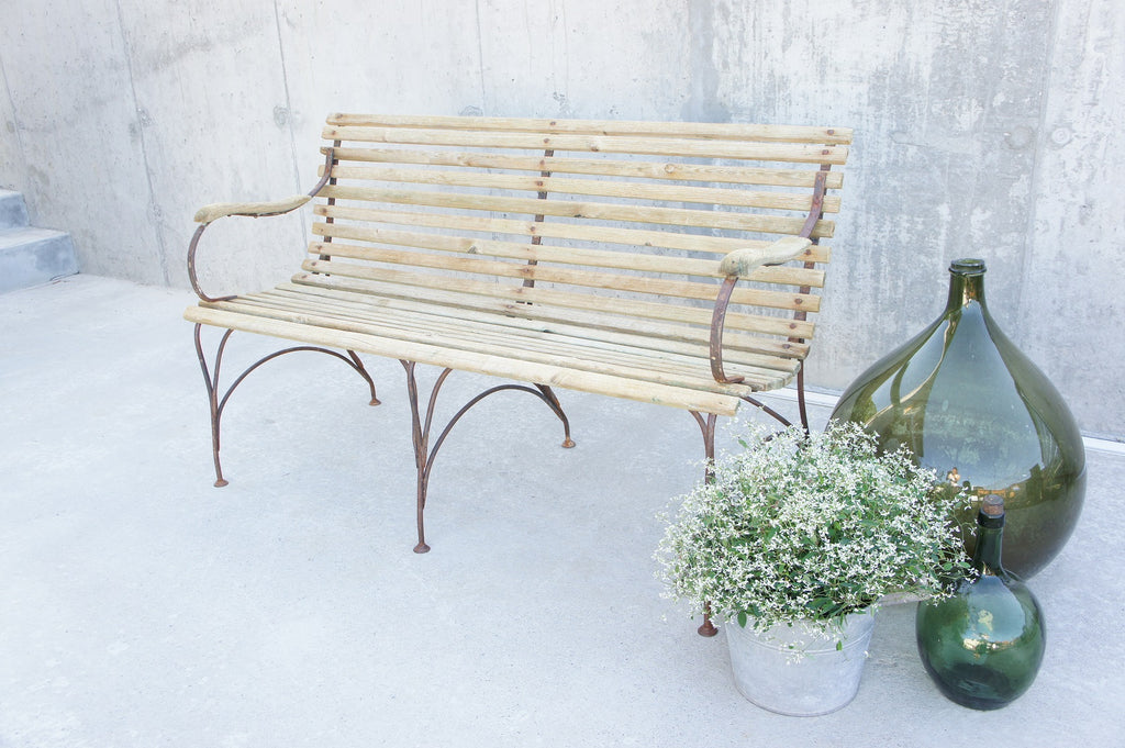 Garden Bench in Wood and Wrought Iron