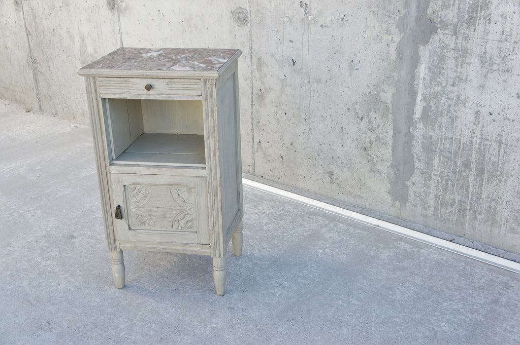 1930's Marble and Wood Bedside Cabinet