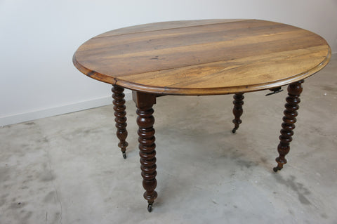 Walnut Wood Folding Oval Bistro Table