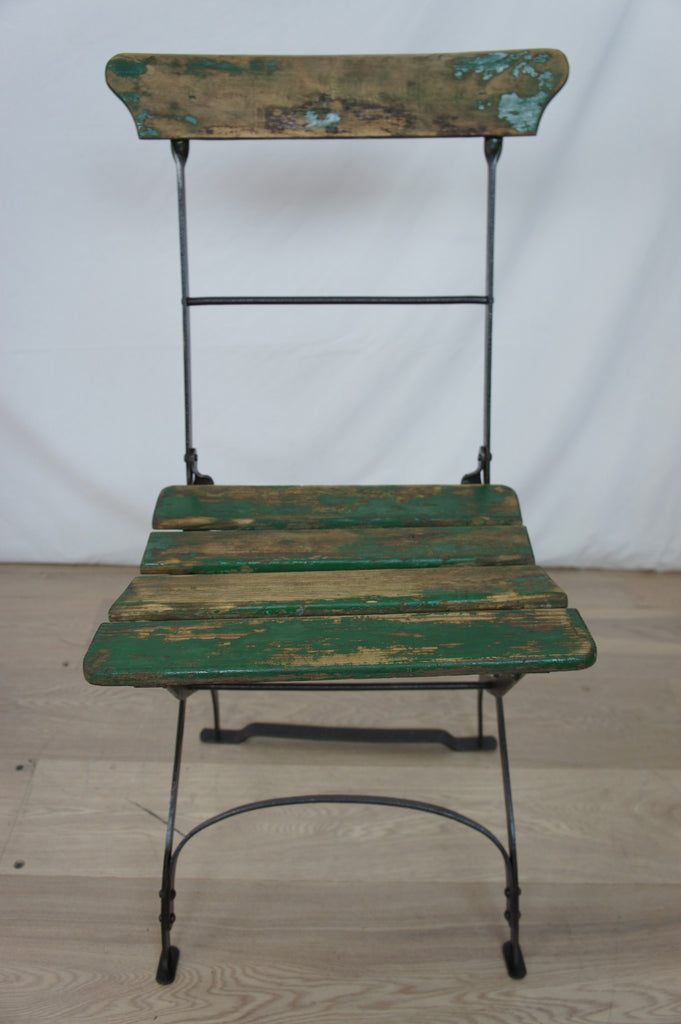 Single Folding Green Chair Vintage French