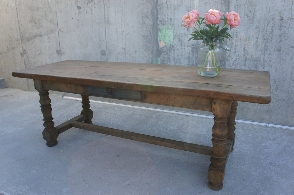 Oak Farmhouse Table With Drawer
