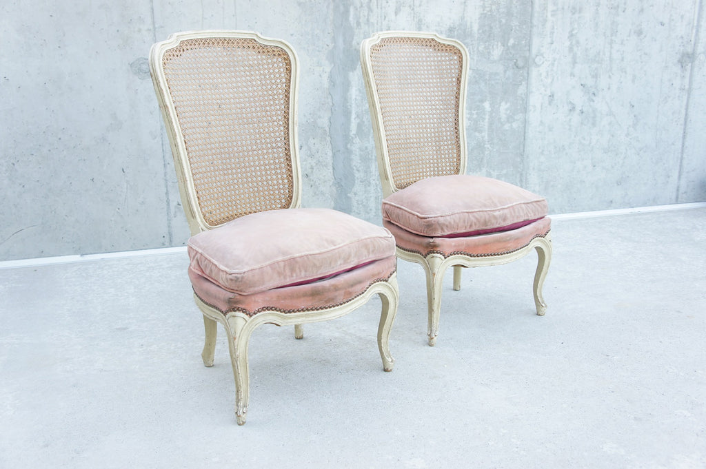 Pair High Back Cane Bedroom Chairs to Reupholster