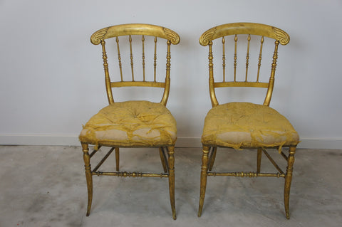 Pair of Carved Gold Napoleon III Bedroom Chairs to reupholster