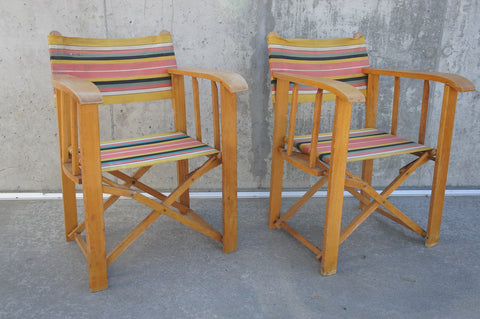Pair Folding Deck Chairs Garden Chairs
