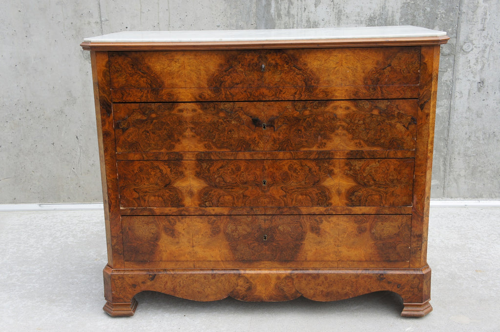 Marble Topped, Veneer Chest of Drawers