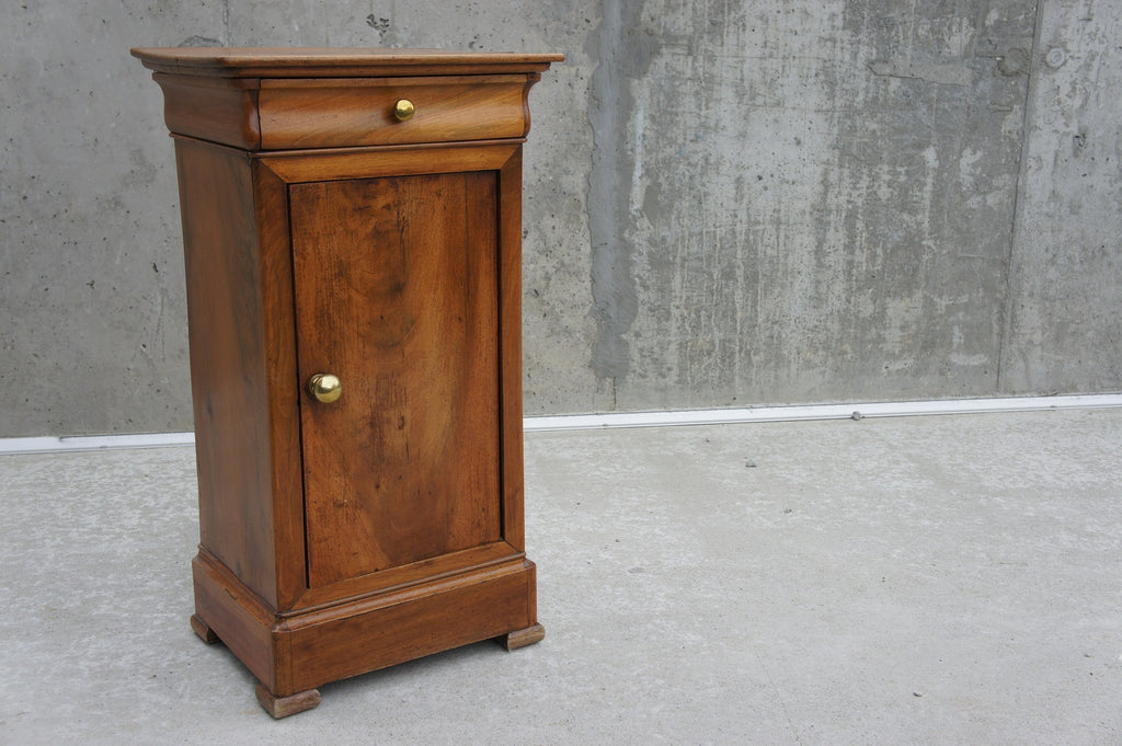 Walnut Wood Bedside Cabinet With Metal Door Knobs