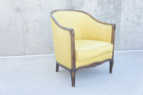 1930's Art Deco Carved Tub Armchair to Reupholster