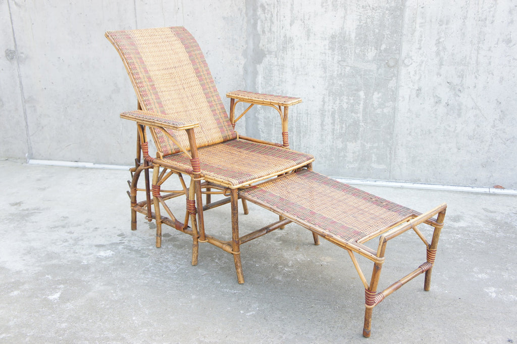 Reclining Wicker Chair with Detachable Footstool Chaise Longue