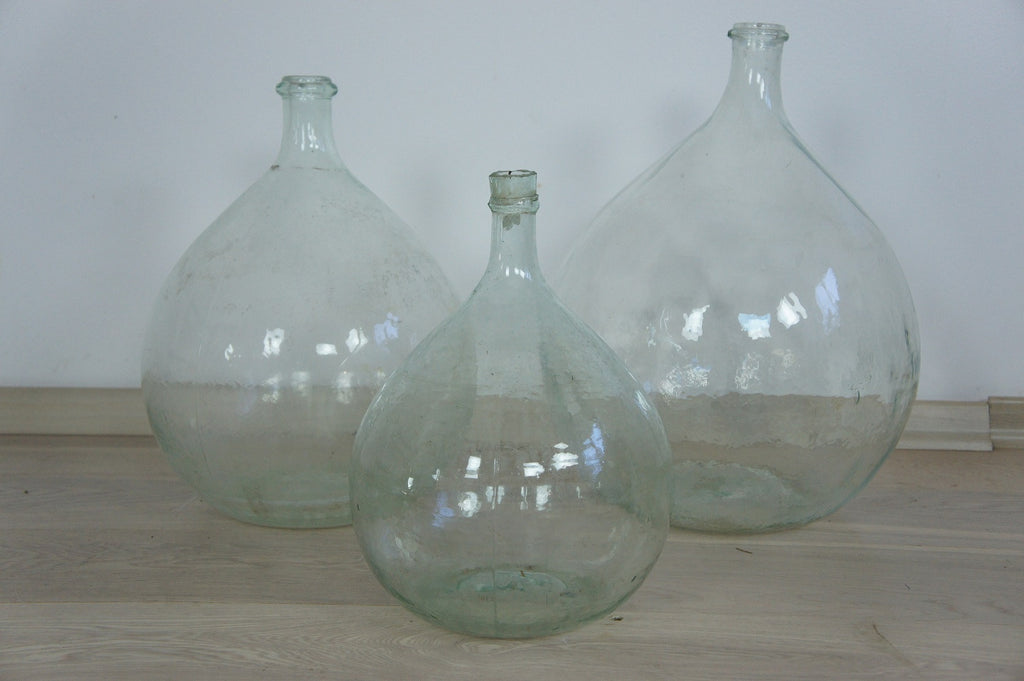Clear Glass Vase Bottles Demijohn Vintage French