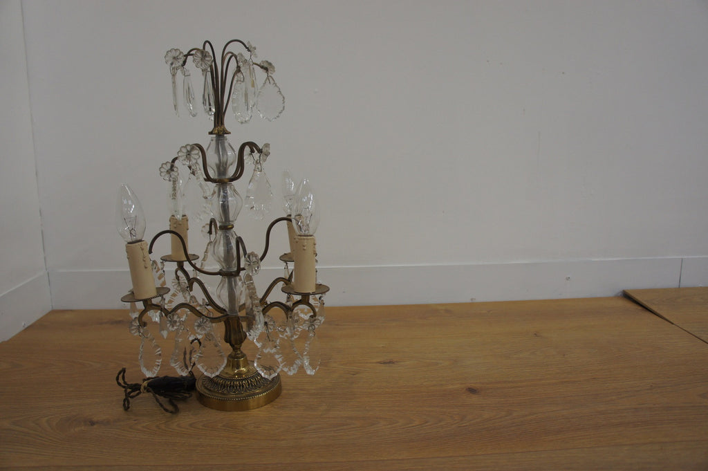 Brass and Crystal Lamp