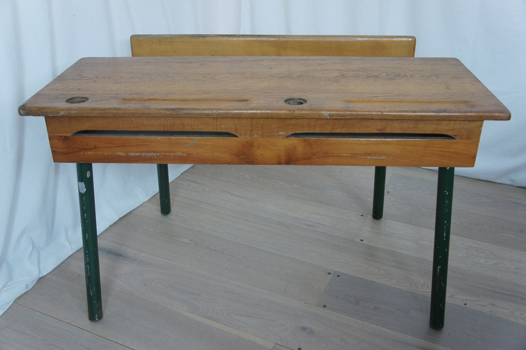 Industrial Style Green Legged Double School Desk