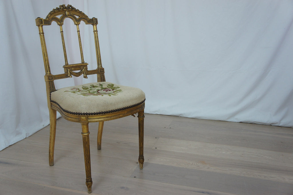 Gilded Wood Napoleonic Bedroom Chair