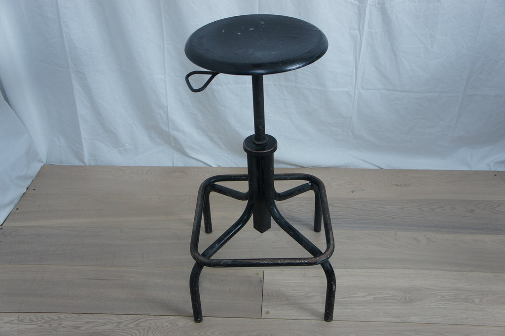 Industrial Stool Black Wooden Seat
