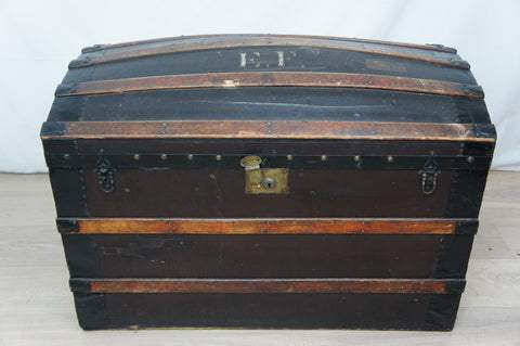 Large Metal Leather Wood Domed Travel Trunk