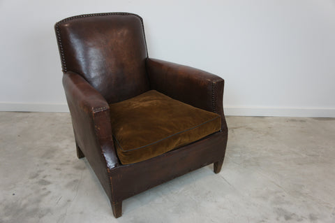 Leather Club Chair with Original Cotton Velvet Cushion