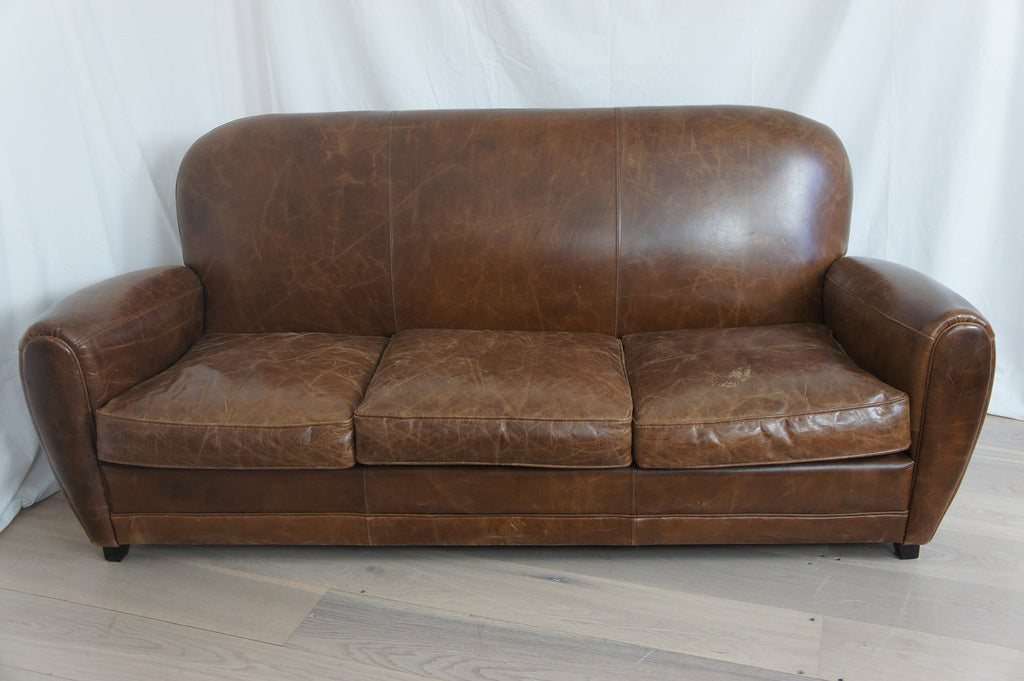 Leather Club Three Seater Sofa