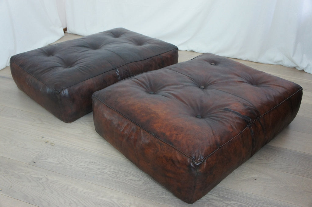 Pair Leather Poufs