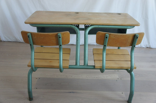 Metal And Wood Double School Desk Vintage French