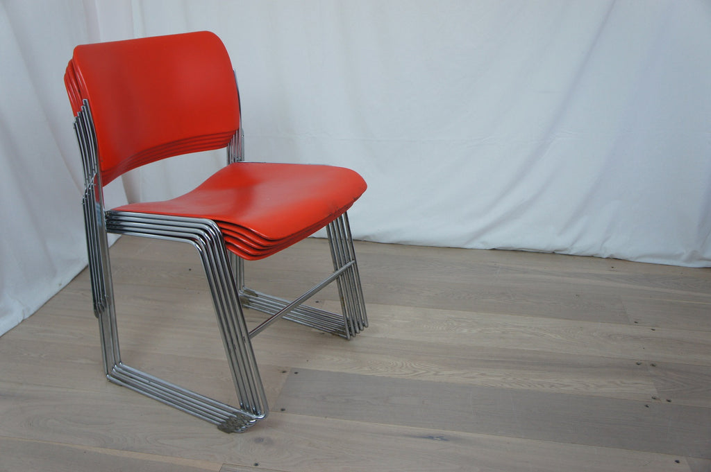5 Mid Century Chrome Stack-able Office Chairs