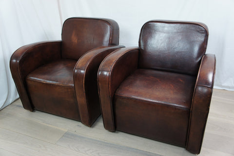 Art Deco Style Pair Vintage Leather Club Chairs
