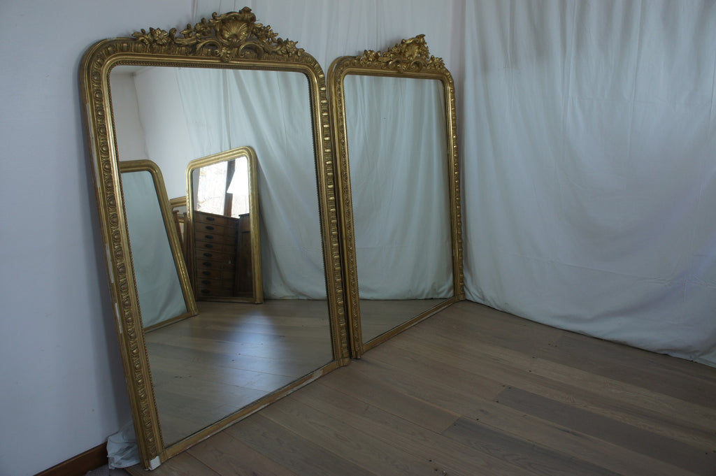 Pair of Large Coquille Mirrors