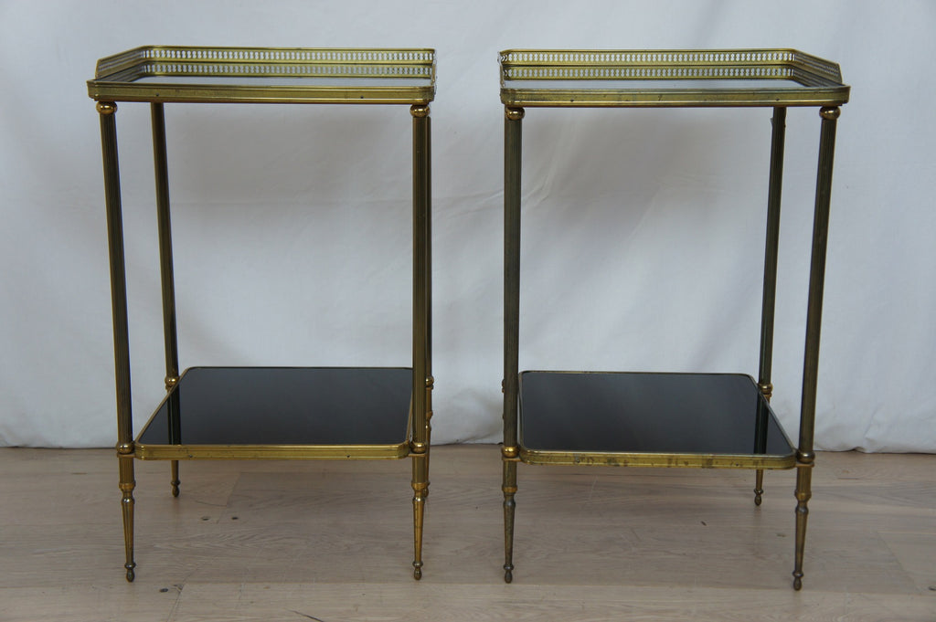 Pair Metal and Smoked Glass Side Tables