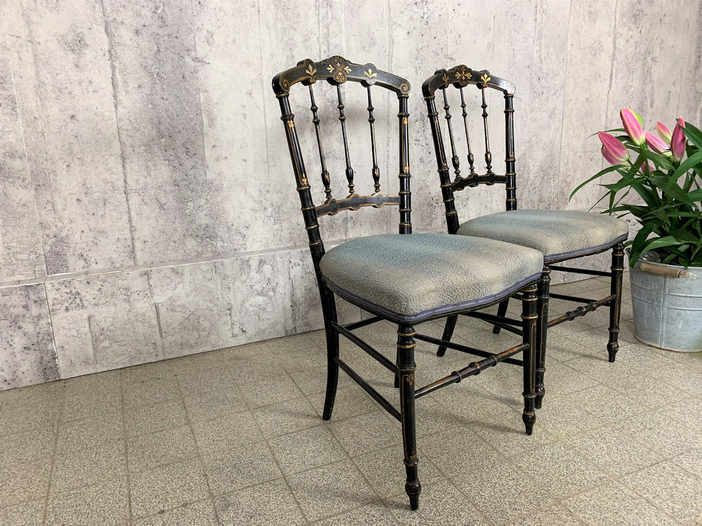 Pair of Ebonised Napoleon III Hand Painted Bedroom Chairs to reupholster