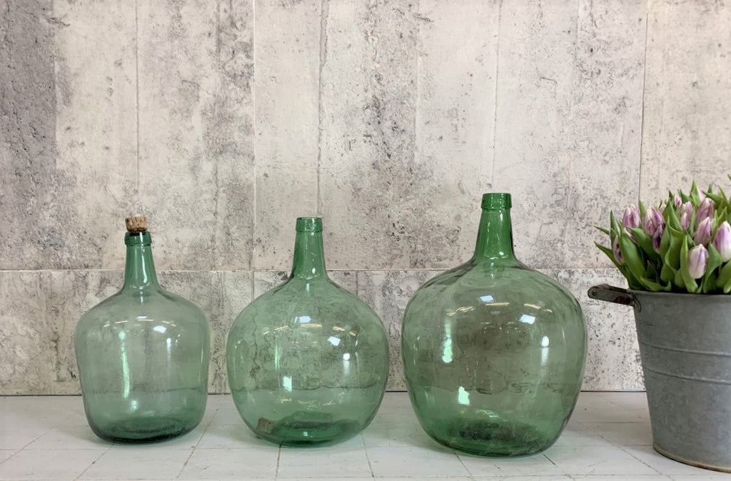 Set of Three Green Vases Demijohns