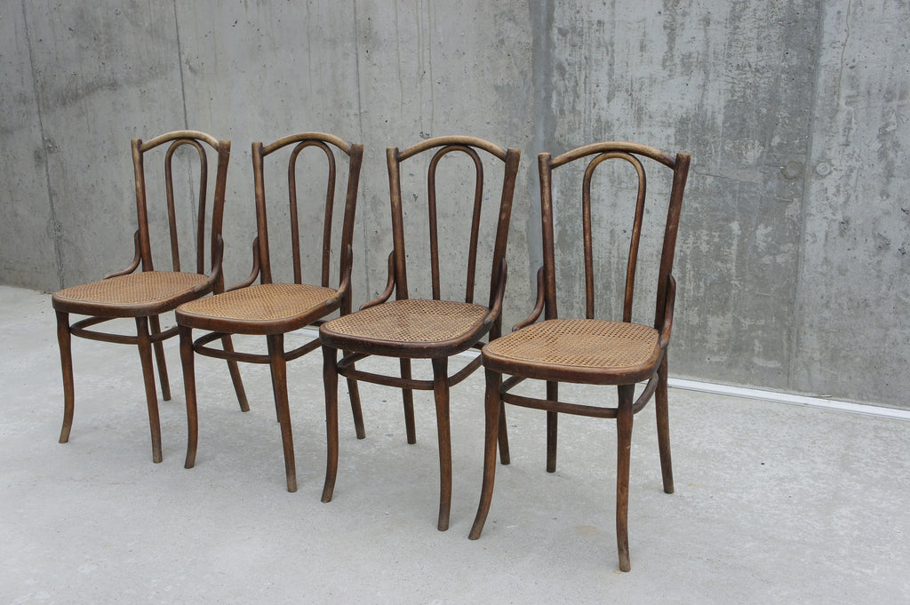 Set of 4 Thonet Cane Bentwood French Bistro Chairs