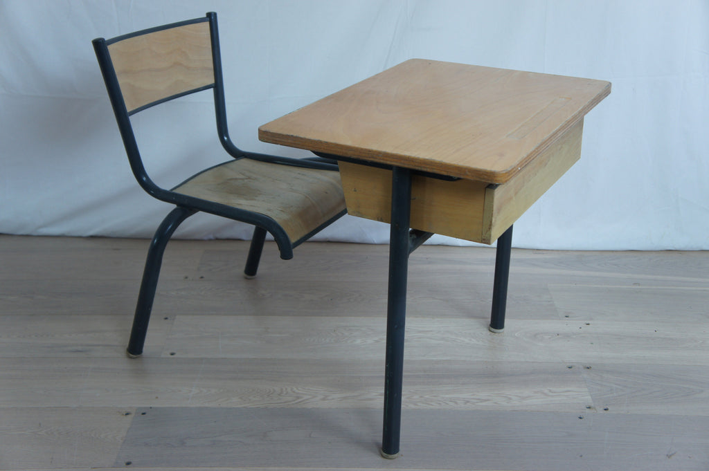 Child's Single Metal and Wood School Desk