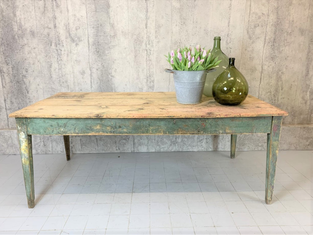 199.5cm Pine Table with Green Painted Tapered Legs