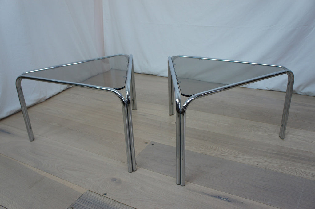 Pair Chrome and Smoked Glass Triangular Sofa Tables