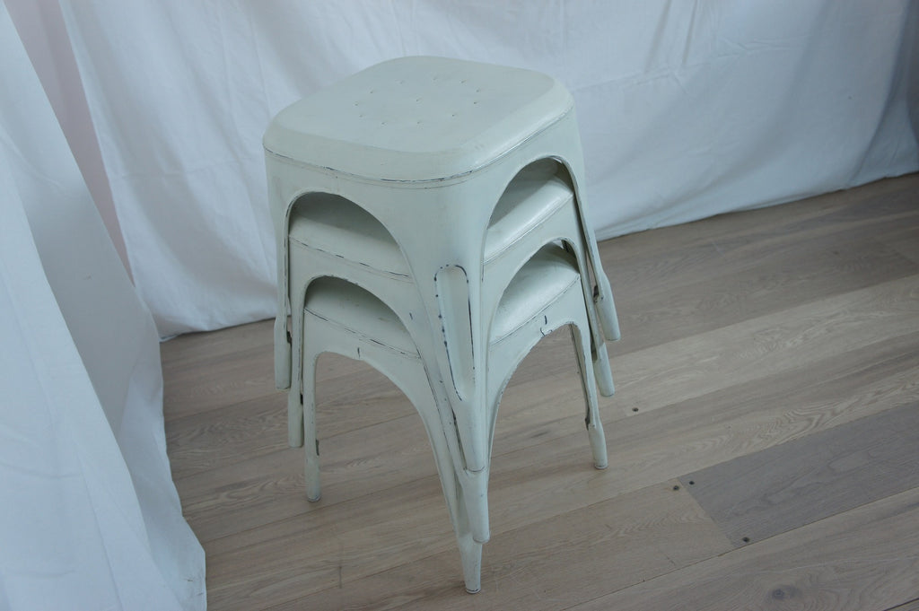 White 1930's Style Tolix Metal Stools (set of 3)