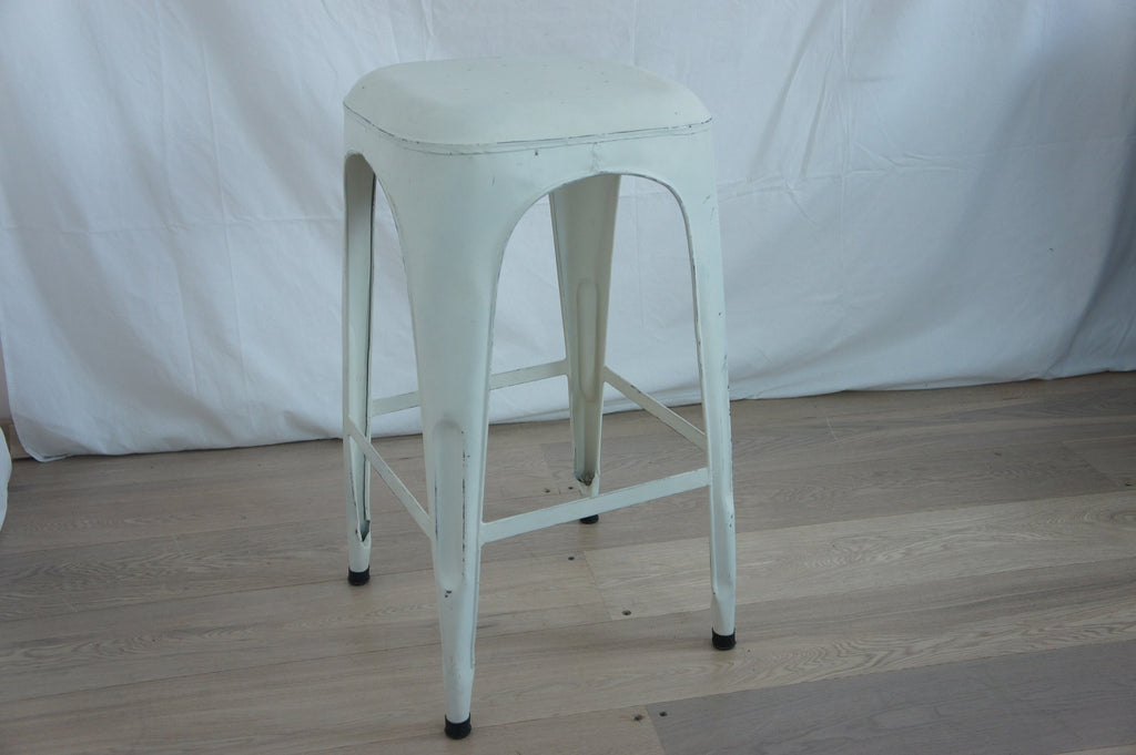 White 1930's Style Tolix Metal High Stool