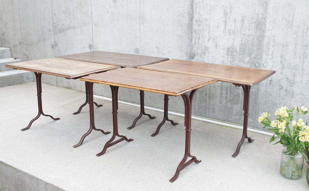 Set of 4 Metal and Walnut Wood French Bistro Tables