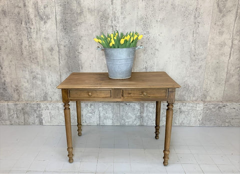 100.5cm Traditional French Turned Leg Two Drawer Table Desk
