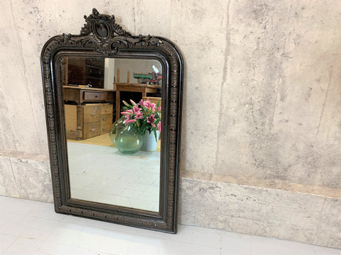French Crested Black Decorative Over Mantel Mirror