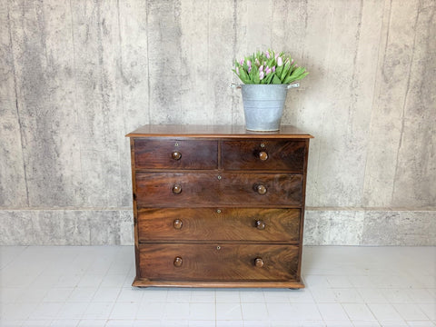 111cm Wide Exquisite Two over Three 1800's Mahogany Veneer Chest of Drawers