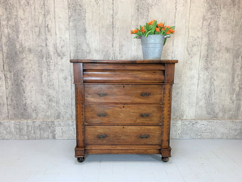 1800's Mahogany Veneer Chest of Drawers