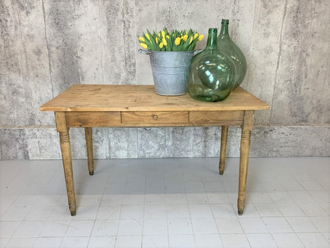 129.5cm Farmhouse Turned Leg, One Drawer Kitchen Table Desk