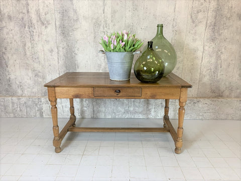 133cm Rustic Oak Farmhouse Kitchen Table, Desk