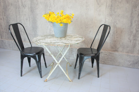 1920's Folding White Metal Garden Table and Two Black 1920's Tolix Style Metal Chairs
